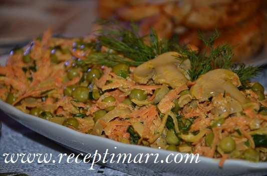 салат с морковью и грибами